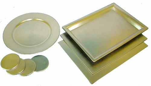 Plastic silver laquered table set - Set table plastique ...