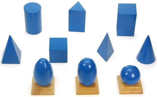 Montessori Materials: Geometric Solids with Bases & Planes