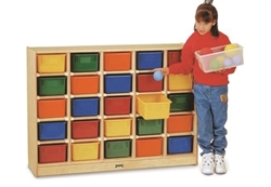 Montessori Materials- 25 Tray Mobile Cubbies with Clear Trays