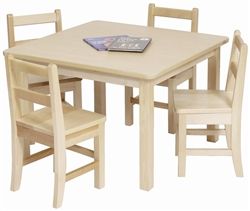 "Montessori Materials: 30"" x 30"" Solid Birch Classroom Table (Solid Wood Top)"