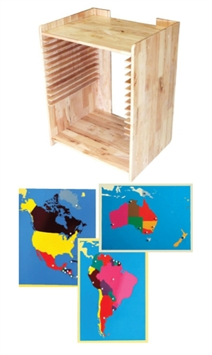 Montessori Materials Montessori Materials Map Set with Cabinet ...