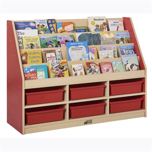 Book Display With 6 Compartment Storage   Red