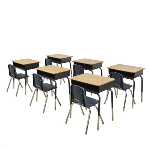 6 Open Front Metal Book Box Desks And 16 Navy Chairs
