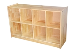 Rubber Wood Shelf with 8 Compartments