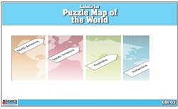 Labels for Puzzle Map of the World