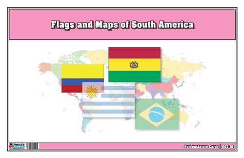 Flags of South America with Map Cards (Printed)