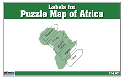 Labels for Puzzle Map of Africa