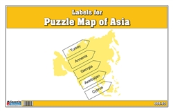 Labels for Puzzle Map of Asia