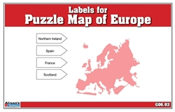 Labels for Puzzle Map of Europe