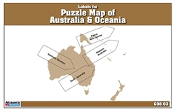 Labels for Puzzle Map of Australia