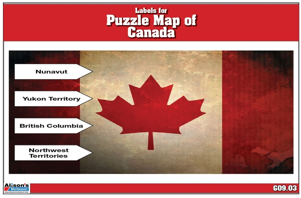 montessori materials labels for puzzle map of canada