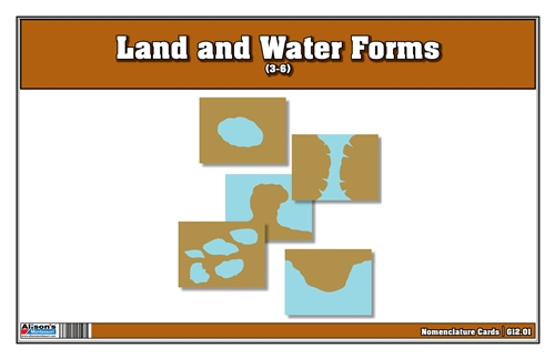 Land and Water Forms Nomenclature Cards 3-6 (Printed)