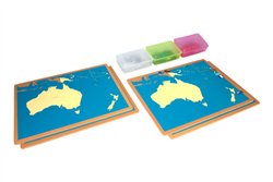Four Maps of Australia without Cabinet (Country, Capital, Flag, & Push Pin)