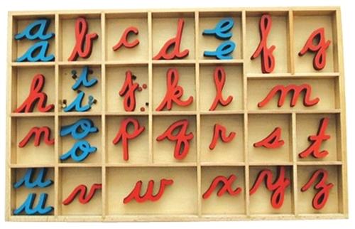 Montessori Materials: Small Movable Alphabets: Cursive