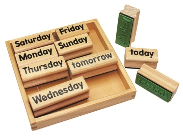 Montessori Materials Days Of The Week Rubber Stamps