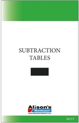 Subtraction Table (Printed)