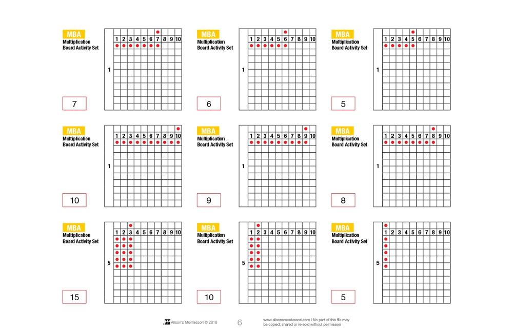 Montessori Materials: Multiplication Board Activity Set