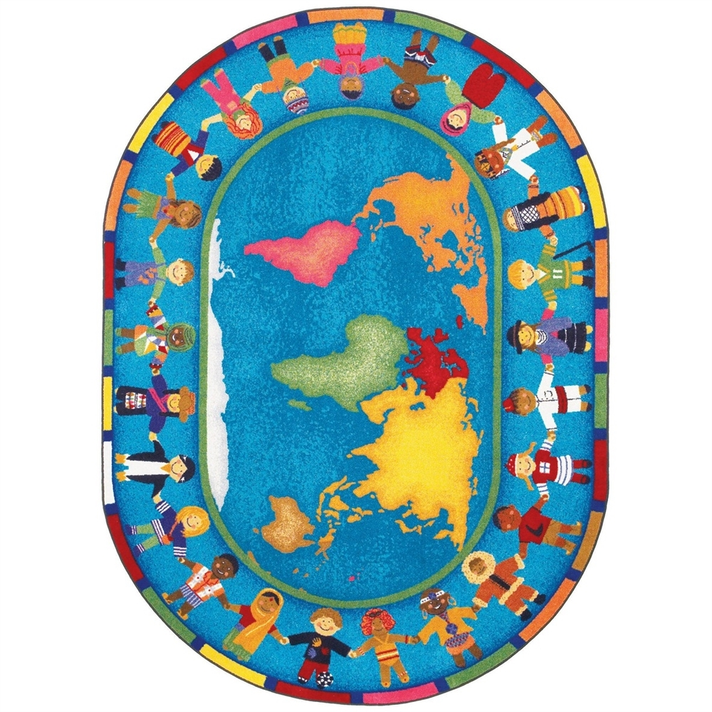 Montessori Classroom Carpet Hands Around The World Oval Rugs