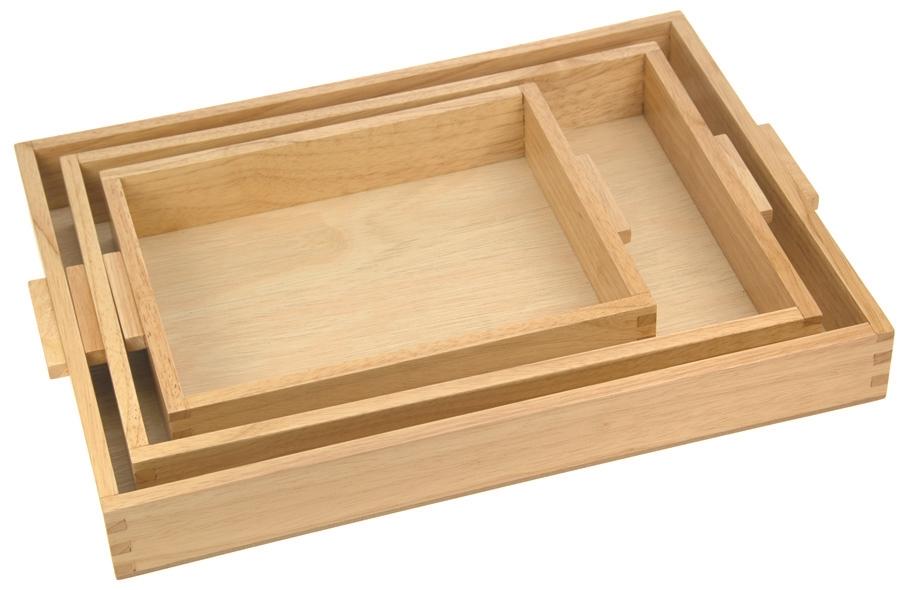 Beau 3 Piece Wooden Tray Set