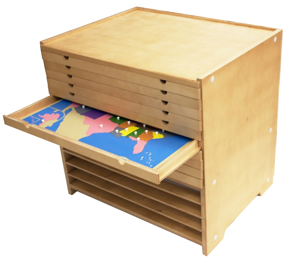 Montessori Materials Puzzle Maps Cabinet Solid Wood