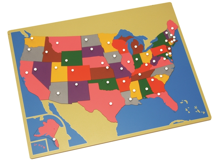 Color Coded Map Of Usa.Montessori Materials Puzzle Map Of Usa Premium Quality