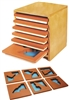 Wooden Land and Water Form Trays with Cabinets