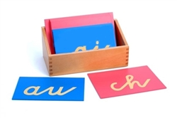 Montessori Language Materials: Sandpaper Double Letters: German Cursive (Premium Quality)