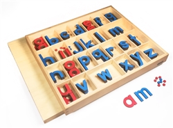 Lowercase Small Movable Alphabets Blue with  Red Vowels- Print (Premium Quality)
