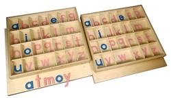 Lowercase Small Movable Alphabets Pink with Blue Vowels-Print (Set of 2 Boxes) Premium Quality
