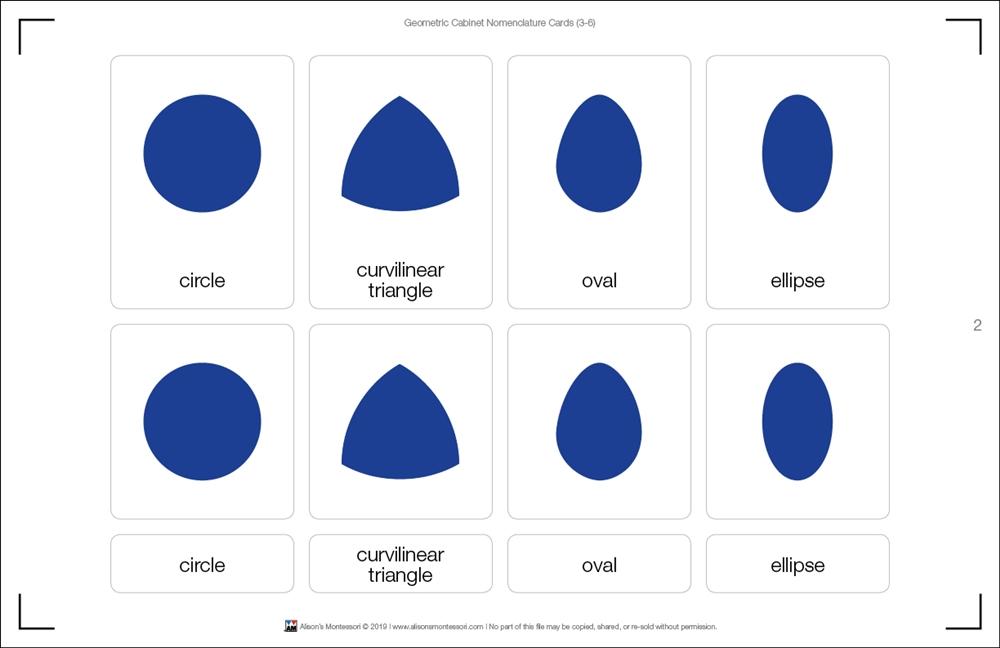 Montessori Materials: Geometric Cabinet Nomenclature Cards