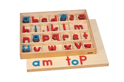 Plastic Small Movable Alphabets: Red with Blue Vowels - Print (Premium Quality)