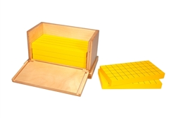 Five Yellow Prisms For Volume with Wooden Cubes